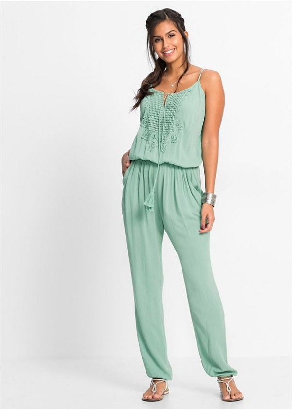 Langer blauer Outfit - Jupmsuit