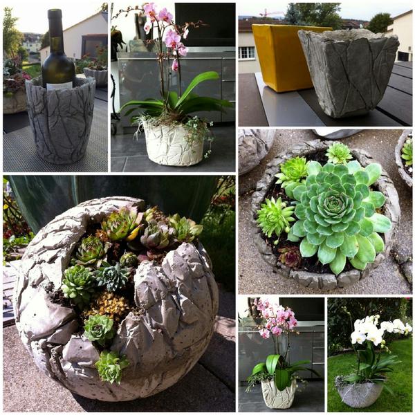 Pflanzenkübel Beton - moderne Gartengestaltung