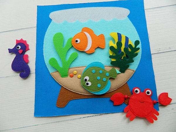 Quiet Book Fische Aquarium Spielbuch stilles Buch selber machen Ideen