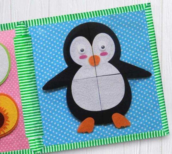 Quiet Book Pinguin Spielbuch stilles Buch selber machen Ideen