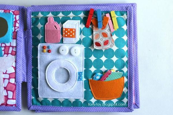 Quiet Book Waschmaschine Spielbuch stilles Buch selber machen Ideen