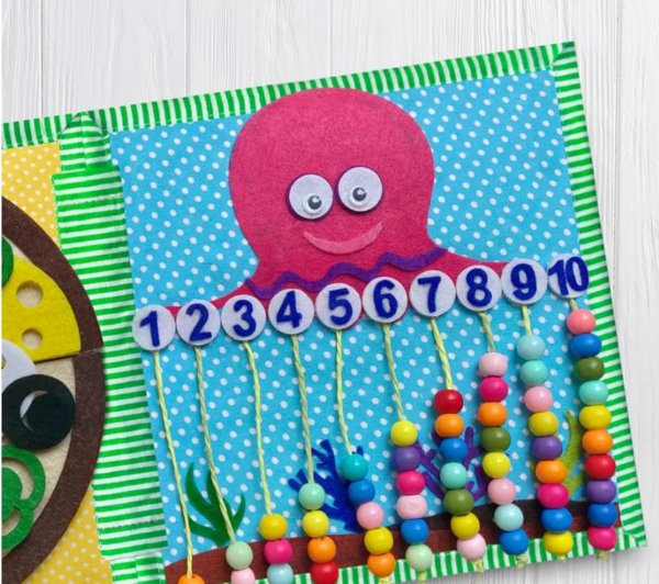 Quiet Book Zahlen lernen Spielbuch stilles Buch selber machen Ideen
