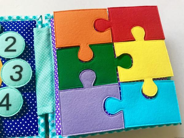 Quiet Book nähen Stoffbuch stilles Buch Puzzleteile Farben