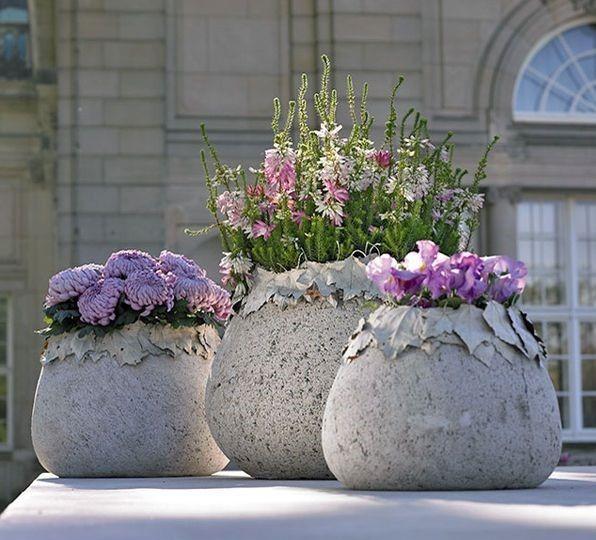 Runde Pflanzer - Pflanzen Ideen - Pflanzenkübel Beton
