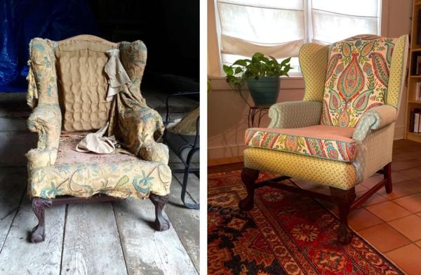 Sofa neu beziehen lassen Tipps Sessel vor und nach