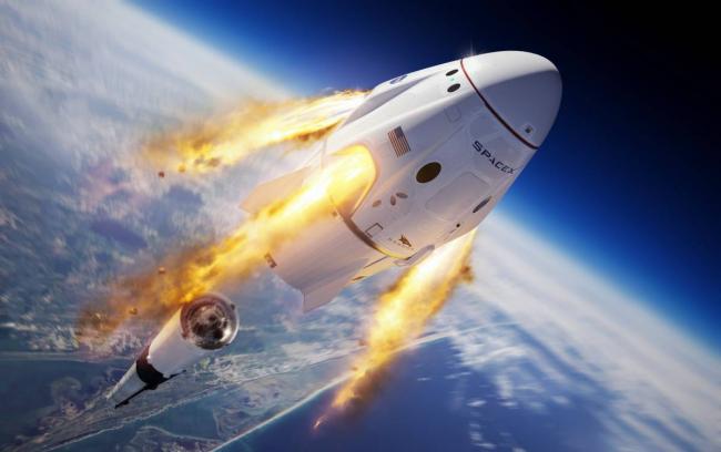 SpaceX Elon Musk Falcon-9-Rakete im Weltall erster bemannter Flug zur ISS