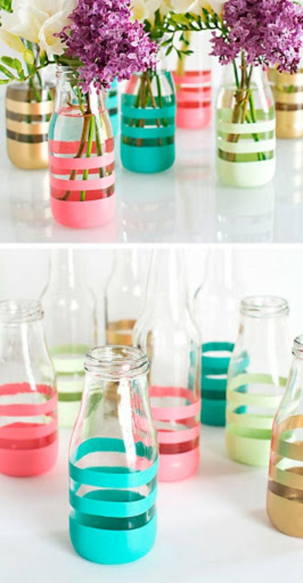 glasflaschen vasen schnelle muttertagsgeschenke basteln
