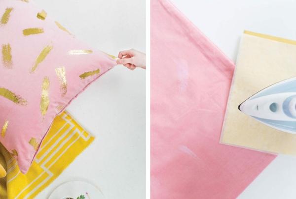 goldfolie textilien deko ideen
