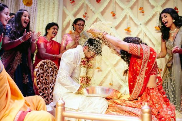 indische Hochzeit Hochzeitszeremonie Reis