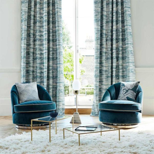 Blaue Gardinen - sehr schöne Stoffe - Gardinen Trends