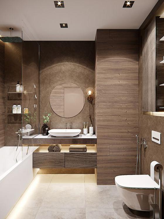 Braun modernes Badezimmer Badfliesen in Holzoptik schöne warme Braunnuance sehr elegant stilvoll