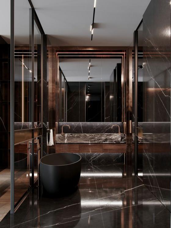 Braun modernes Badezimmer Dunkelbraun mit Schwarz kombinieren Glas Spiegel stilvolles luxuriöses Baddesign