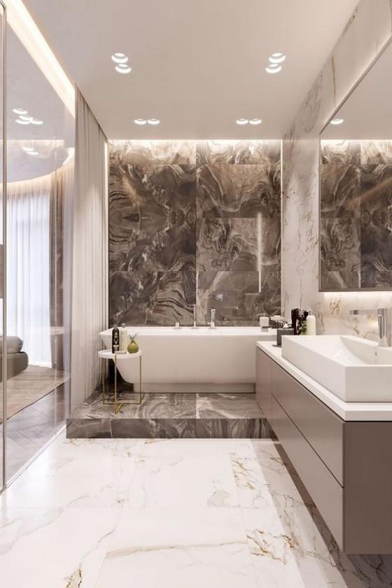 Braun modernes Badezimmer Marmorfliesen in Haselnussbraun und Weiß luxuriöse Badgestaltung