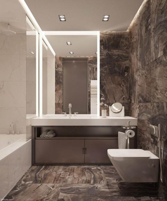 Braun modernes Badezimmer Marmorfliesen interessante Maserung Wanne WC Waschtisch in Weiß WOW-Effekt