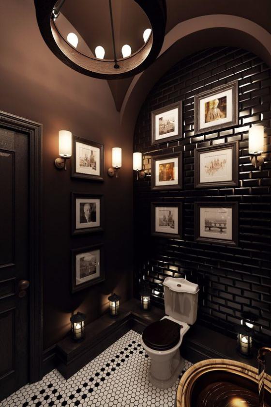 Braun modernes Badezimmer Schokoladenbraun weiße Deko Elemente passende Beleuchtung Kontraste