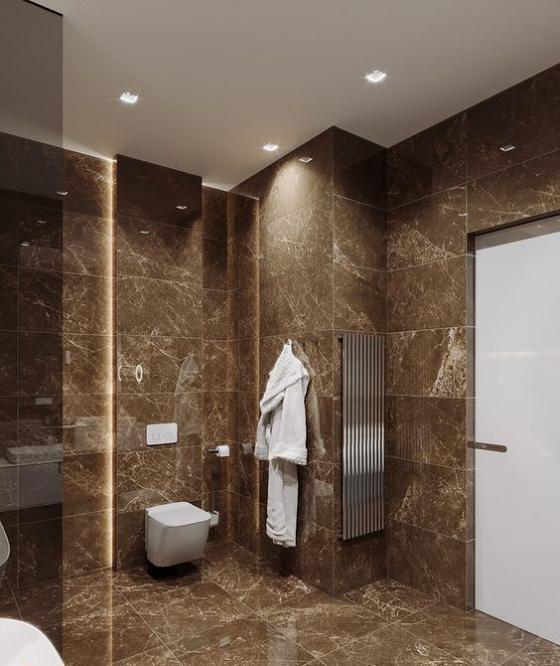 Braun modernes Badezimmer warme Braunnuance Haselnussbraun Marmorfliesen weißer Bademantel