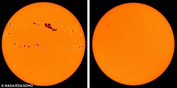 Das Solar Dynamics Observatory der NASA erkennt die größte Sonneneruption seit 2017 solar maximum und solar mininmum seite an seite