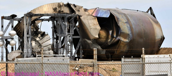 Der Raketenprototyp Starship SN4 von SpaceX explodiert während Test boca chica texas explosion rakete überreste