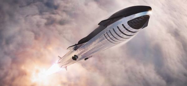 Der Raketenprototyp Starship SN4 von SpaceX explodiert während Test illustration der rakete im weltall