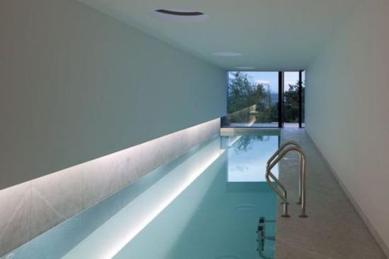 Hallenbad zu Hause Minimalismus pur graue Fliesen hohe Glasfenster Blick in den Garten