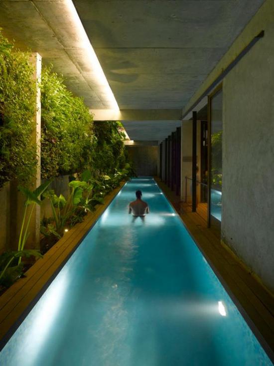 Hallenbad zu Hause längliche Form Mann im Wasser feuchtigkeitsresistente Beleuchtung viele grüne Pflanzen ein tropisches Flair