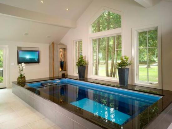 Hallenbad zu Hause rechteckige Form blau gefliest Blumentöpfe immergrüne Pflanzen Fernseher an der Wand