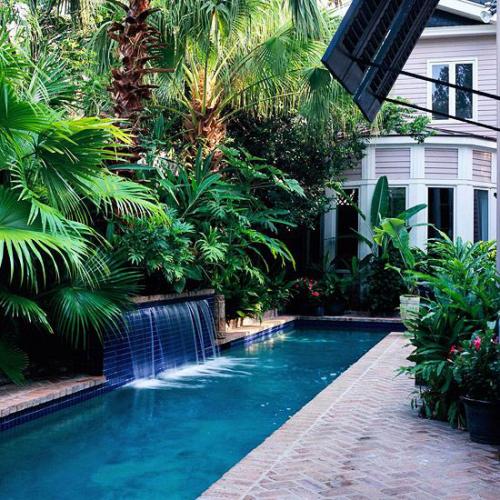 Schmale Pools auf wenig Platz für kleine Gärten üppige exotische Grünpflanzen Wasserbrunnen Umgebung attraktiv einladend