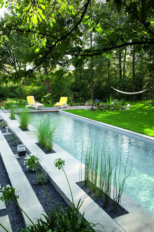 Schmale Pools auf wenig Platz für kleine Gärten kleine Details Sträucher Relax Liegen attraktiver Ort