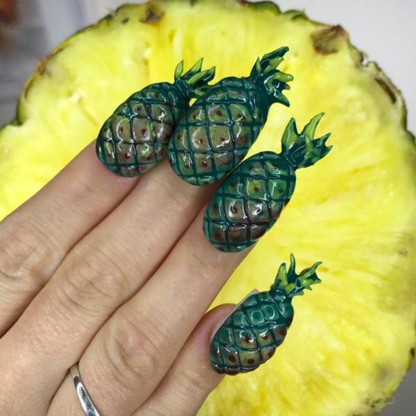 ananas maniküre nageldesign ideen