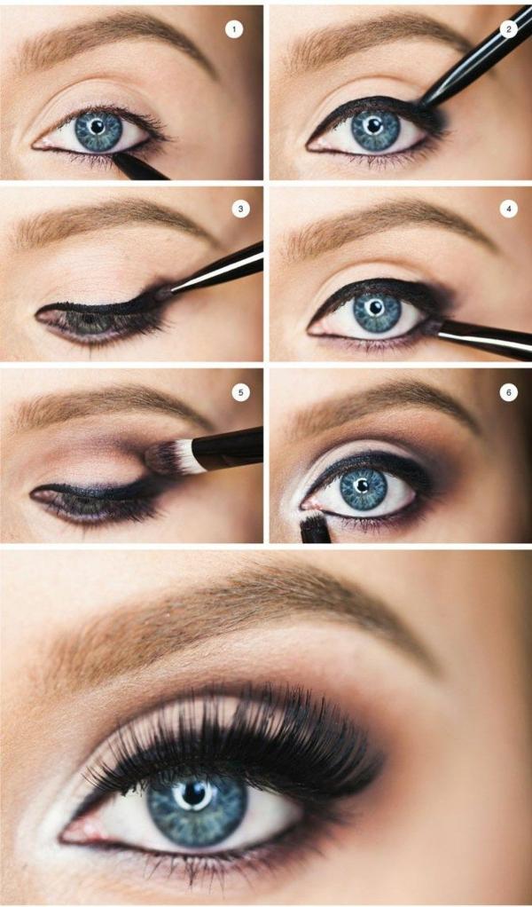 blaue augen schminken anleitung eyeliner