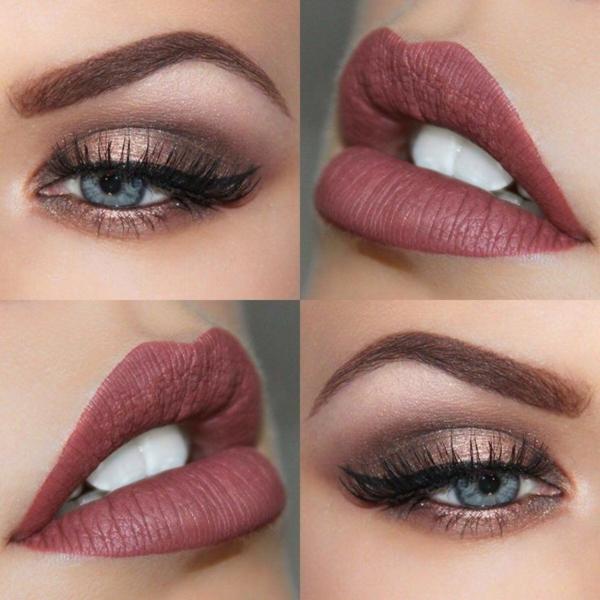 blaue augen schminken lippenstift passend
