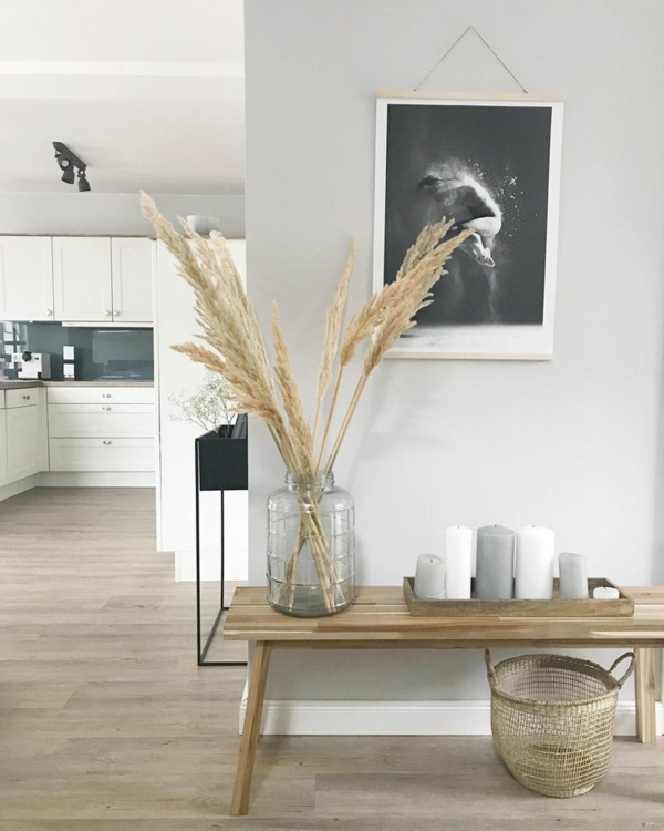 dekoideen mit pampasgras flur küche dekorieren
