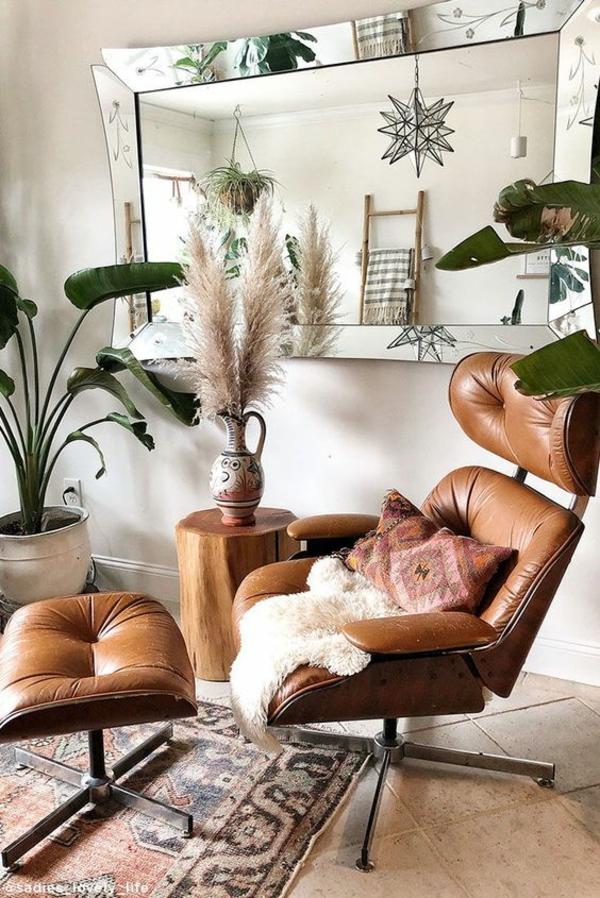 design klassiker eames sessel leder pampasgras