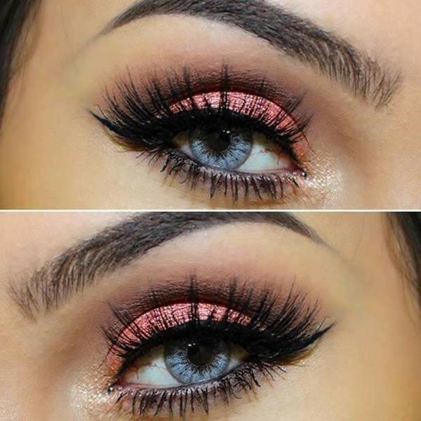 glizer rosa make up smokey eye blaue augen schminken