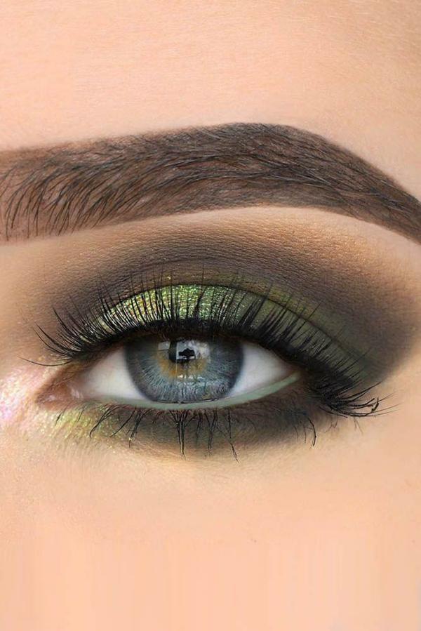 grüne lidschatten smokey eyes blaue augen schminken