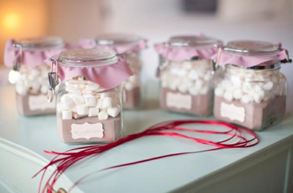 heiße schokolade marshmallows im glas gastgeschenke hochzeit