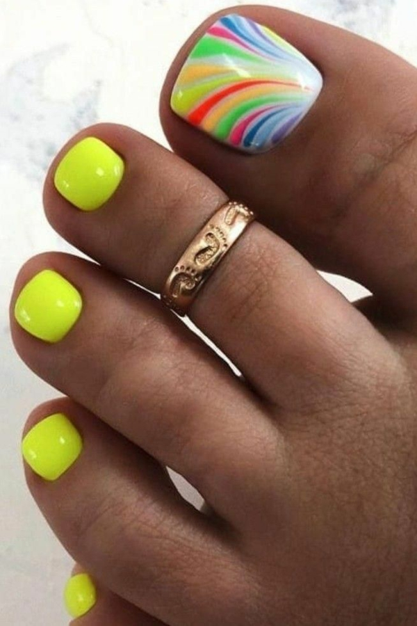 neonfarben sommer nageldesign fußfinger