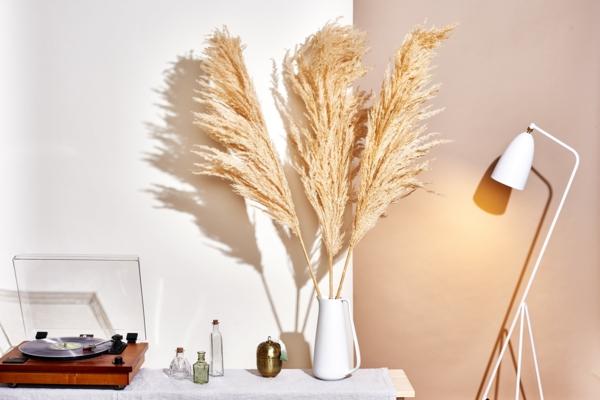 retro dekoration innendesign dekoideen mit pampasgras