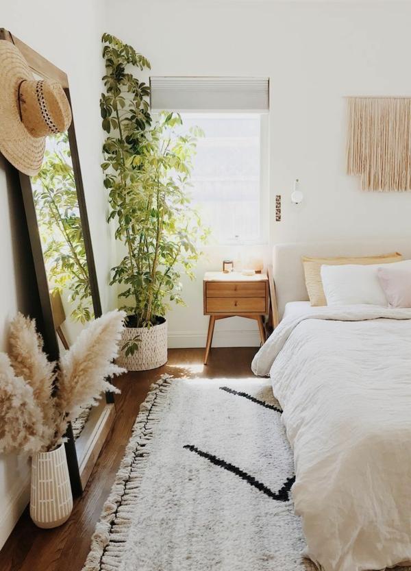 schlafzimmer dekorieren sommer pampasgras