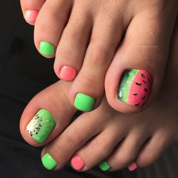 wassermelone kiwi nageldesign fußnägel