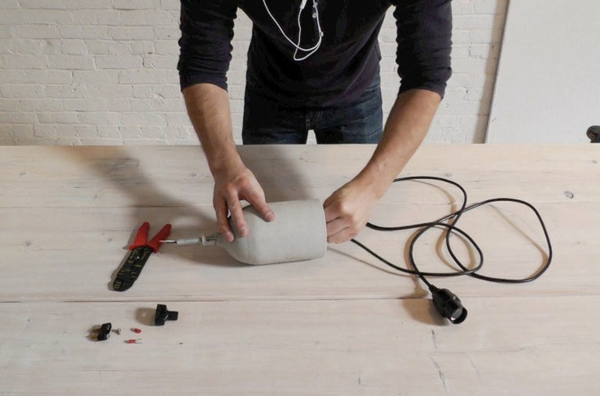 Betonlampe selber machen Anleitung Kabel
