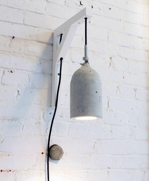 Betonlampe selber machen Anleitung Pendelleuchte Beton fertig