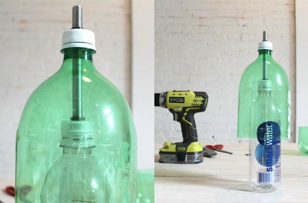 Betonlampe selber machen Anleitung Plastikflaschen vorbereiten