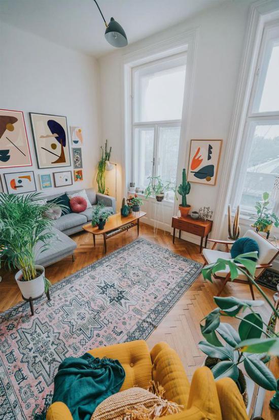 Dekoideen Wohnzimmer üppige grüne Topfpflanzen bringen mehr Exotik mit in den Raum ideen