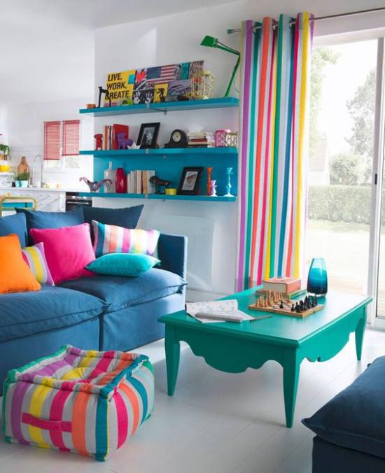 Dekoideen Wohnzimmer Blau zahlreiche Nuancen in Kombination
