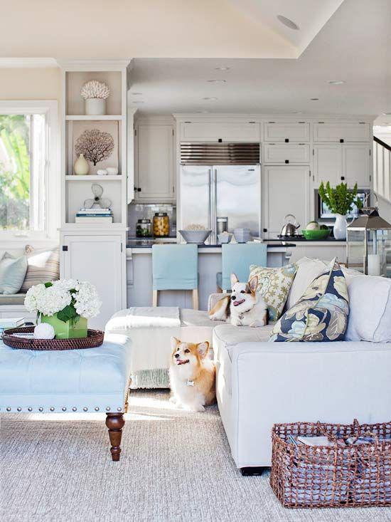 Dekoideen Wohnzimmer hellblau taubengrau zwei Hunde Sofa Körbe Küche im Hintergrund