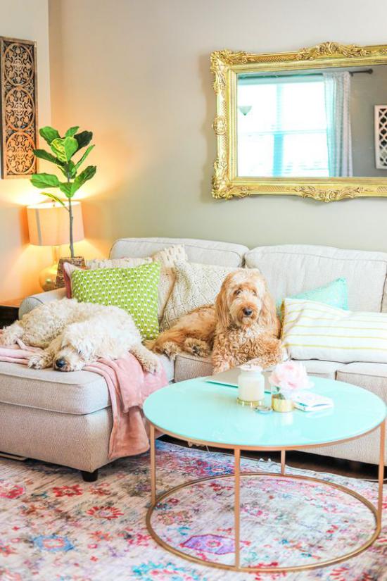 Dekoideen Wohnzimmer helles Sofa Lampe Spiegel Wurfdecken Hund grüne Topfpflanze