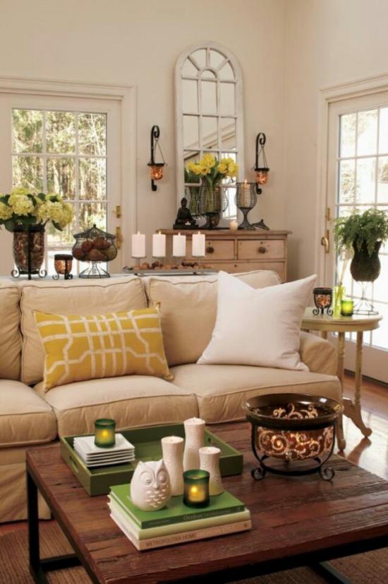 Dekoideen Wohnzimmer schöne Einrichtung stilvoll ausgewählte Farben Grau Weiß Senf Grasgrün