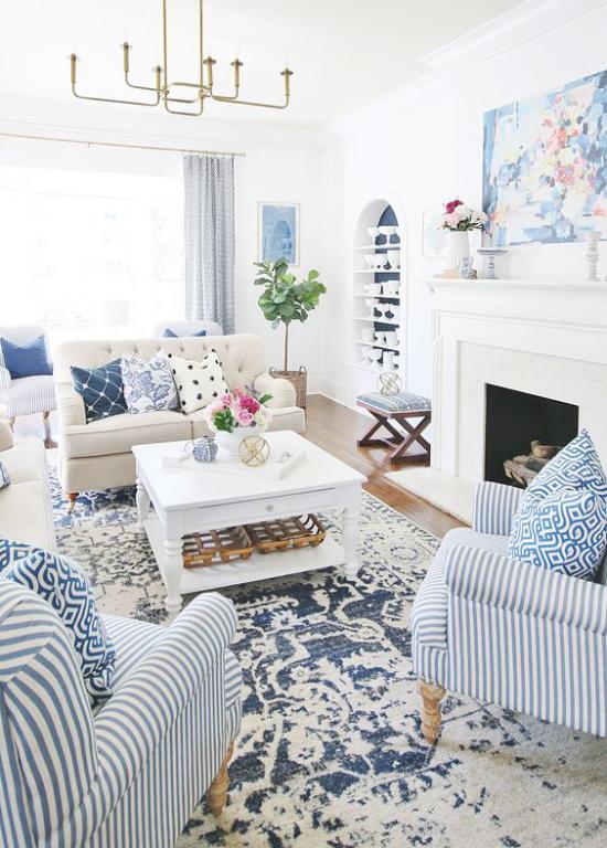 Dekoideen Wohnzimmer schönes maritines Ambiente Blau-Weiß klassisches Farbduo