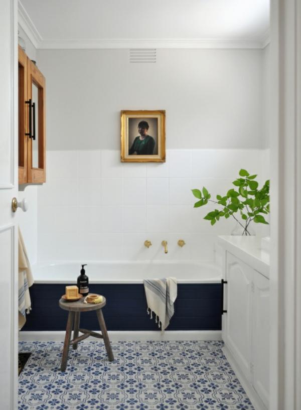 Fliesen bemalen Badezimmer Ideen Badfliesen erfrischen